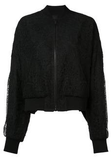 Vera Wang sheer back lace bomber jacket - Black