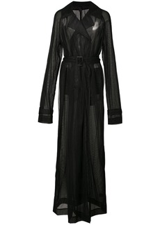 Vera Wang sheer maxi trench coat - Black