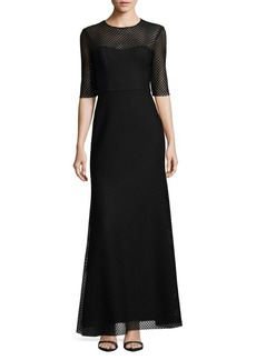 Vera Wang Short-Sleeve Lace Gown