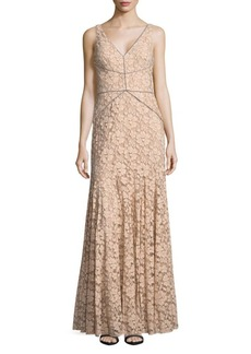 Vera Wang Sleeveless Floral-Lace Gown