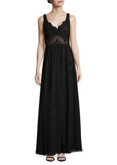 Vera Wang Sleeveless Lace Chiffon Floor-Length Dress