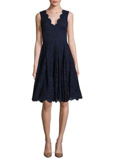 Vera Wang Solid Scalloped Lace Dress