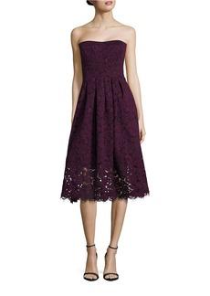 VERA WANG Strapless Lace Dress