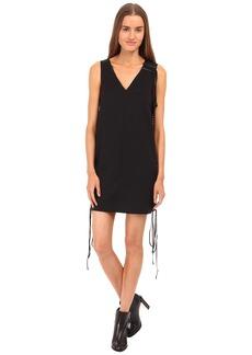 Vera Wang Tuxedo Lace Up Sleeveless Dress