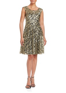 Vera Wang Two-Toned Embroidered Dress