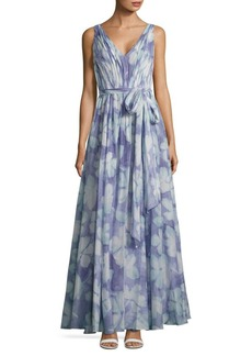 Vera Wang V-Neck Floral-Print Dress