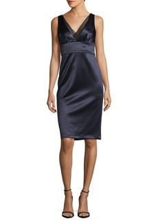 Vera Wang V-Neck Satin Dress