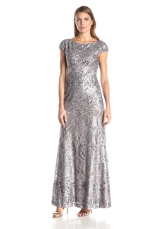 Vera Wang Women's Beaded Cap Sleeve Long Dress