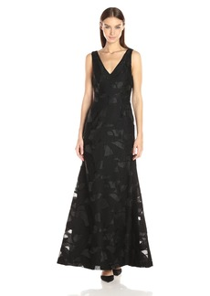 Vera Wang Women's Burnout Organza Gown with Mesh