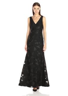 Vera Wang Women's Burnout Organza Gown with Mesh