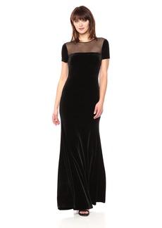 Vera Wang Women's Cap Sleeve Velvet Gown with Sheer Yoke