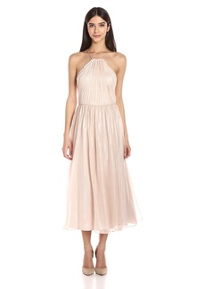 Vera Wang Women's Chiffon Halter Mid Length Cocktail Dress