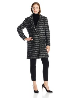 Vera Wang Women's Coco Single Breasted Striped Tweed Wool Coat
