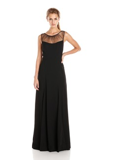 Vera Wang Women's Crepe Gown with Illusion Neck