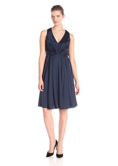 Vera Wang Women's Deep V-Neck Pleated Dress