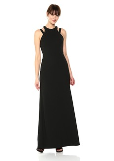 Vera Wang Women's Fitted Gown with Open Back Detail