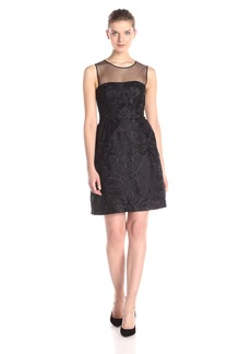 Vera Wang Women's Illusion Embroidery Lace Dress