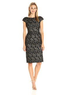 Vera Wang Women's Jacquard and Lace Combo Short Cocktail Sheath Dress
