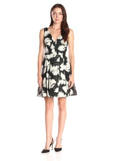 Vera Wang Women's Jacquard Dress Black/Ivory