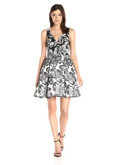 Vera Wang Women's Jacquard Short Cocktail Dress