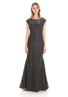 Vera Wang Women's Lace Cap Sleeve Gown