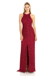 Vera Wang Women's Lace Halter Dress with Center Front Slit and Racer Back