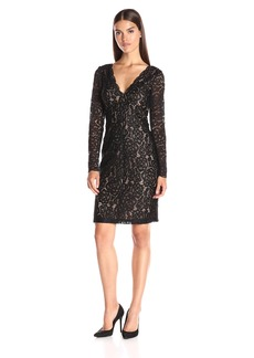 Vera Wang Women's Lace Long Sleeve Shift Dress