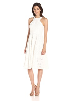 Vera Wang Women's Lace Tea Length Dress