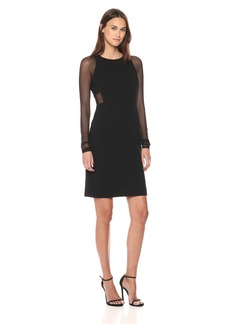 Vera Wang Women's Long Cocktail Dress with Sheer Sleeves