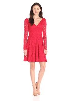 Vera Wang Women's Long-Sleeve Lace Dress