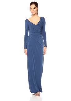 Vera Wang Women's Long Sleeve V Neck Draped Gown