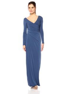 Vera Wang Women's Long Sleeve V Neck Draped Gown
