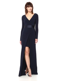 Vera Wang Women's Long Sleeve V Neck Dress