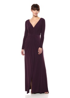Vera Wang Women's Long Sleeve V Neck Gown