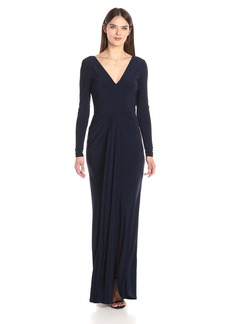 Vera Wang Women's Long Sleeve V Neck Gown With Draped Front
