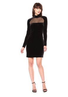 Vera Wang Women's Long Sleeve Velvet Cocktail Dress
