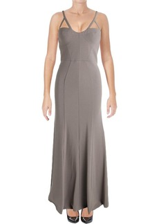 Vera Wang Women's Long Spaghetti Strap Gown with Cutout Detail ash Gray