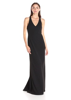 Vera Wang Women's Scuba Crepe Gown with Lace
