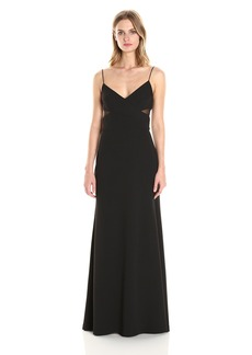 Vera Wang Women's Scuba Crepe Gown with Mesh