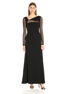 Vera Wang Women's Scuba Crepe Long Sleeve Gown Mesh