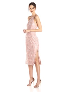 Vera Wang Women's Sequins Halter Gown With Side Slits