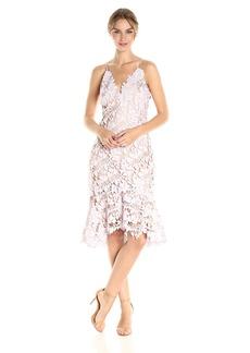 Vera Wang Women's Sleeveless 3D Lace Cocktail Dress Wioth Ruffle Skirt