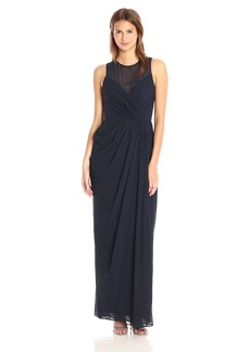 Vera Wang Women's Sleeveless Chiffon Draped Gown with Illusion Neckline