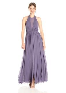 Vera Wang Women's Sleeveless Chiffon Halter Gown with Veiled Deep V Neck