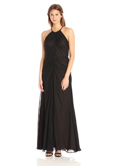 Vera Wang Women's Sleeveless Chiffon Rouched Gown