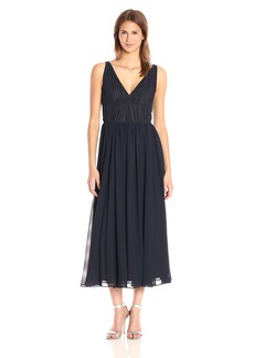 Vera Wang Women's Sleeveless Chiffon Tee Length Gown with V Neck