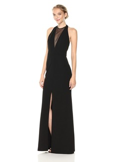Vera Wang Women's Sleeveless Crepe Gown With Veiled Deep V Neck