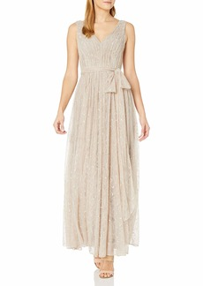 Vera Wang Women's Sleeveless Double Vneck Scallop Lace Long Fit & Flare Dress