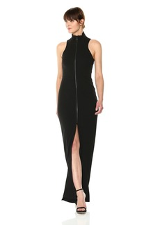 Vera Wang Women's Sleeveless Gown with Exposed Front Zipper