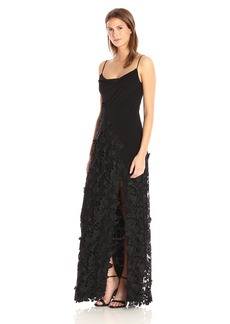 Vera Wang Women's Sleeveless Gown With Slight Cowl Neck and 3D Lace